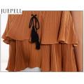 Европейских и американских женщин Новый летний сплошной Цвет Верхний ламинированный воланами сложите повязку без бретелек проводов малых рубашка женщины жилет блузка