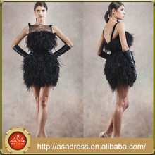 AVA02 Sexy High Quality Lady Girl Party Gowns Low Back Custom Made Black Cocktail Dress with Feathers