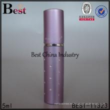 Atomizadores púrpuras al por mayor del perfume del viaje 5ml, servicio de impresión de seda, OEM