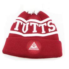 Chapéu de gorro listrado vermelho e branco acrílico