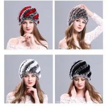Las señoras de otoño de invierno hermoso cómodo sombrero de piel rabit manual