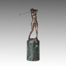 Statue sportive Concurrent de golf Sculpture en bronze féminin, Milo TPE-727