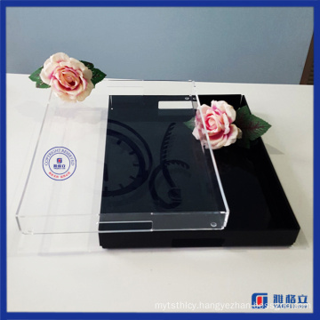 Wholesale Custom Made Acrylic Serving Tray with Handles for Families