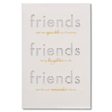 Cartão de Natal dos amigos dos cumprimentos com Cartão Comemorativo