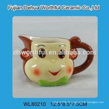Großhandel elegante Keramik Sahne Krug mit Affe Design