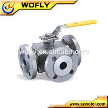 ANSI 3 way flanged ball valve cf8m 1000wog
