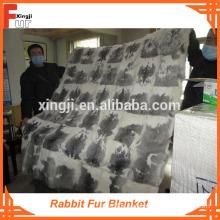 Rabbit Fur throw Real Fur Blanket