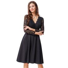 Kate Kasin Mujeres Atractivas Vintage retro largo Sheer Negro Lace manga V-cuello Aline vestido KK000485-1