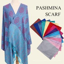 2017 otoño invierno jacquard pashmina chal grande caliente bufandas de rayón turquí pashmina chal con borla
