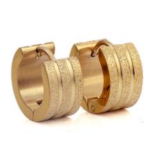 Rose Gold Titanium Steel Matte Personality Ear Buckle Tone Groove Blasted Stainless Steel Stud Earrings