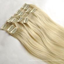 atacado 100% cabelo humano colorido remy grampo virgem na extensão do cabelo
