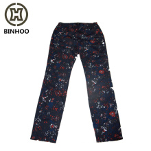 100% cotton flowers digital printing elastic waist side zipper women's pants