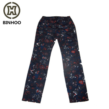 100% cotton flowers digital printing elastic waist side zipper women's pants