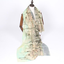 New arrival screen printing women summer wool scarf