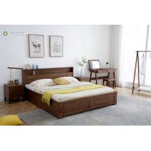 Cabeceira de cama de madeira de borracha maciça com armazenamento