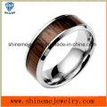 Anel de madeira com incrustações de aço inoxidável comemora o anel de jóias (SSR2708)