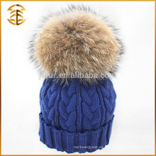 Venta al por mayor genuina Raccoon tejidos de piel de punto de Pom Beanie sombrero de invierno