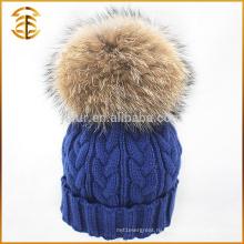 Оптовые Подлинная Raccoon Вязаные Мех Вязание Pom Beanie Зимняя шляпа