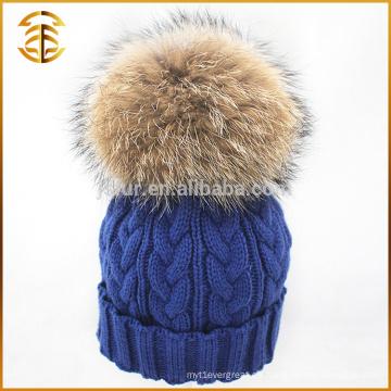 2017 Venta al por mayor de lana de colores de piel tejida Hat Beanie invierno