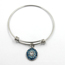 Sterling Silver Adjustable Jewelry Charms Bangle Bracelet