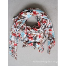 Viscose square printed skull scarf women