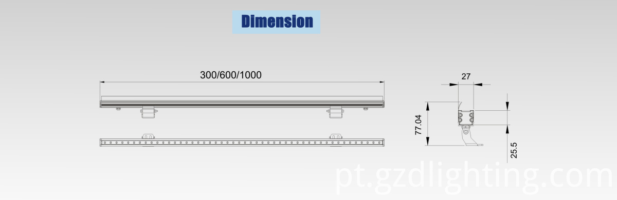 led rigid bar light dimension