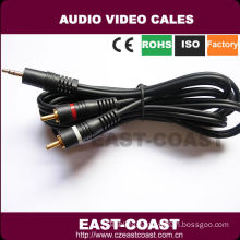 6Ft Male Plug to Male 2RCA Male 3.5mm stereo audio cable cord