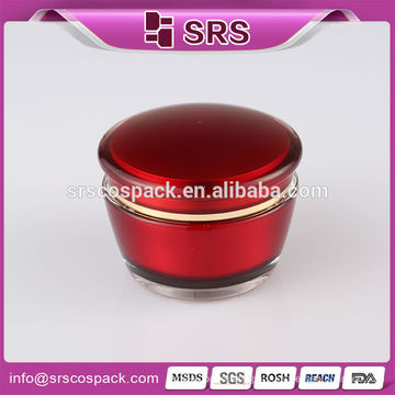 Plastic 15g 30g 50g cosmetic acrylic jar, 30g 50g red plastic luxury round acrylic container for skin care cream