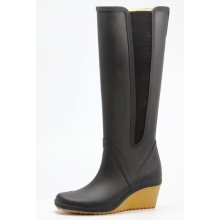 Special Black Wedge Heel Rubber Boots With Elastic Besides