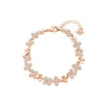 European American Japanese Korean Fashion Jewellery Rose Gold Jewelry Pink Diamond Crystal Rose Swan Bangle Bracelet for Women