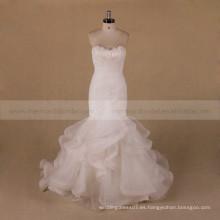 Diseño especial de escote plegado de organza vestido de novia de sirena
