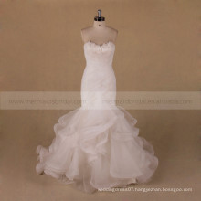 special neckline design pleated bottom Organza mermaid wedding dress