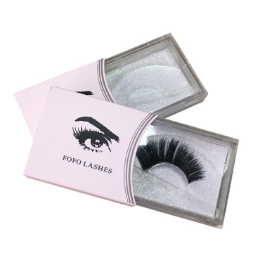 Mink Eyelash Box Custom Papel Manga Atacado