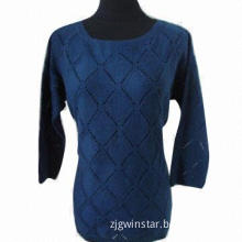 Ladies' crew neck long sleeves button cardigan, available in blue