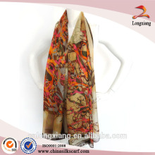 new fashion custom design digital print Indian silk scarf