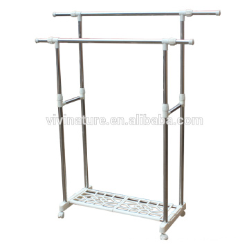 Stainless Steel Clothes Double Hanger Coat Garment Hanging Drying Rack