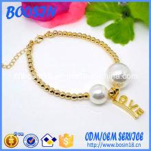 Bracelet de perles en alliage d'étain doré pas cher avec breloque d'amour personnalisée