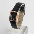 Uhr Frauen Steine schwarze Armbanduhr echtes Lederband Japan Bewegung