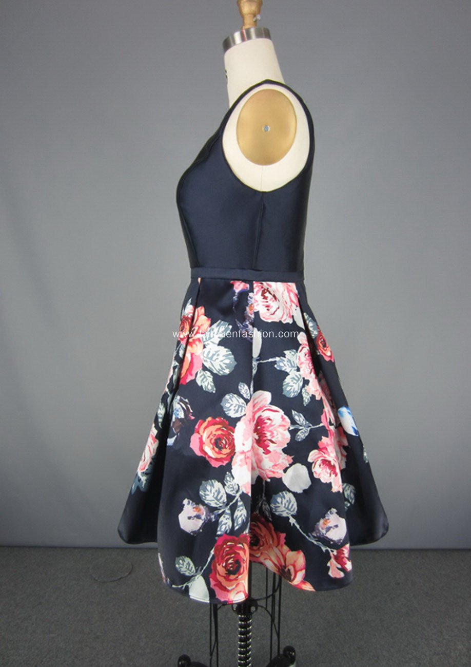 Floral Spring Garden Picnic Party Cocktail Dress