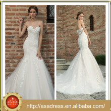 BIE-16 Glamorously Sexy Full-Length Wedding Praty Gown Hand Made Lace Appliqued Sweetheart Mermaid Wedding Dress 2015