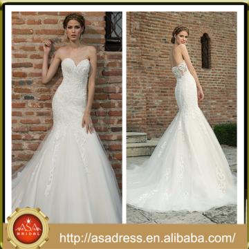 BIE-16 Glamorously Sexy Full-Length Wedding Praty Gown Hand Made Lace Appliqued Sweetheart Mermaid Wedding Dress 2015