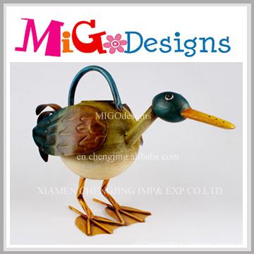 Artesanía coloreada del pato del metal para la decoración al aire libre