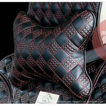 Car Headrest Neck Pillow Bone Shape Chinese Knot Pattern-Red Black