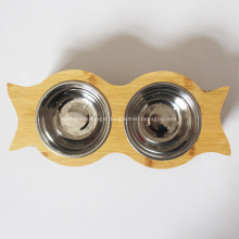 Bamboo Elevated Pet Feeder with two bowels