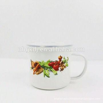 Top Quality white Promotional custom enamel milk mug