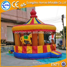 Newest design merry-go-round style commercial bounce house, inflatable baby bouncer with mosquito net