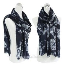 El algodón de las señoras de la manera imprimió la bufanda larga de la franja de la pestaña
