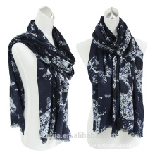 Fashion ladies cotton printed eyelash fringe long scarf