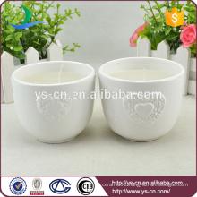 White loving heart design ceramic candle holder for wedding