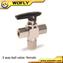 high pressure three way manual ball valve ss316/ ss304 material